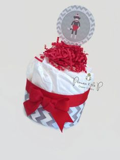 Princess Daisy Diaper   Sock Monkey Mini Diaper Cake, Baby Shower Centerpieces, baby girl, ba ...