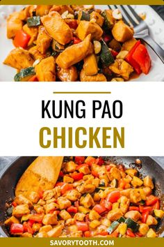 Here is the best Kung Pao Chicken recipe — an authentic, traditional Chinese stir fry with vegetables and a spicy sauce with peanuts. This is a healthy version that is low carb, keto, and gluten free. Serve with zoodles or riced cauliflower.