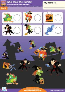 halloween counting worksheet from super simple learning - Esl Halloween Games