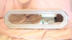 Shabby Chic White Wall Mirror or Vanity Tray Vintage 1970's Homco Distressed Ornate Tall Narrow Paris Cottage