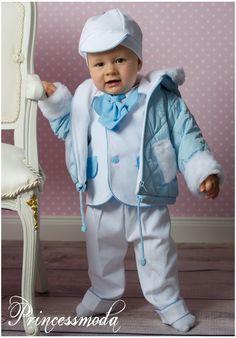 Malte eleganter Anzug + Winter-Jacke BLAU - Princessmoda - Alles für Taufe Kommunion und festliche Anlässe