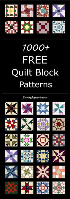 Lots of free quilt block patterns to inspire your next quilting project. Lots of free quilt block patterns to inspire your next quilting project. Quilt Square Patterns, Patchwork Quilt Patterns, Barn Quilt Patterns, Square Quilt, Pattern Blocks, Quilting Patterns, Quilting Ideas, Crochet Quilt Pattern, Patchwork Blanket