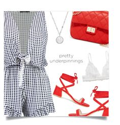"""""""The Prettiest Underpinnings"""" by sagemae ❤ liked on Polyvore featuring Boohoo, Raye, T-shirt & Jeans, Monki and Honora"""