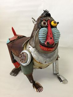 Animal sculptures by Japanese artist Natsumi Tomita created with found objects and salvaged scraps.