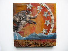 Collage Art-Star Catcher-Angel Art-Parisian by luckduck on Etsy