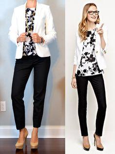 outfit post: white jacket, black & white sleeveless floral...