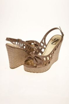Beige Bow Wedges