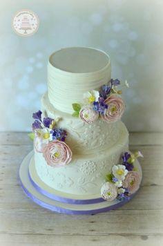 Flowers & Lace Wedding Cake