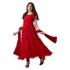 Designer Red Hot Long Anarkali Suit