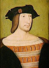 "Portrait of Francis I of France, c. 1515- the year he ascended the throne from his childless cousin Louis XII (a husband of Henry's sister, Mary) & several years after Henry ascended the throne. Among other monikers, he was known as François au Grand Nez (""Francis of the Large Nose"") & was known to be highly intelligent and a great patron of the arts &  letters. As a Catholic, he was ambivalent  toward Henry's marriage to Anne, despite her having spent most of her childhood in the French…"