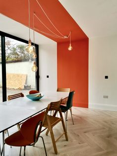 Interior Modern, Interior Architecture, Interior Design, Orange Interior, Japanese Interior, Modern Luxury, Colour Blocking Interior, Color Blocking, Deco Orange
