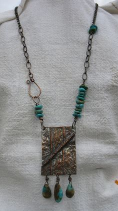 https://flic.kr/p/8TqS5B | Folded copper | Copper with Kingman mine turquoise.
