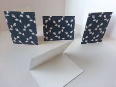 Sets of 4 - Dark Blue with White Roses Folded Gift Tags