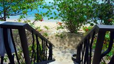 We've launched! Steps leading to the beach and beautiful turquoise waters