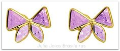 Brincos em ouro 750/18k e ametista lavanda (750/18k gold earrings with amethyst lavender)