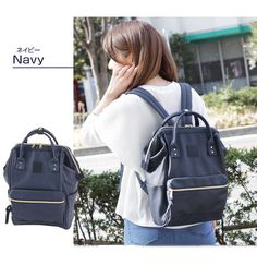 Anello japan leather bag navy blue