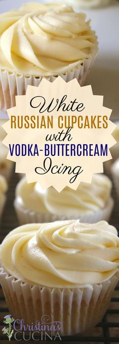 White Russian Cupcakes with Vodka-Buttercream Icing Vodka Cupcakes, Baking Cupcakes, Cupcakes With Alcohol, Cupcake Frosting, Cupcake Cakes, Alcoholic Cupcakes, Cupcakes With Buttercream Frosting, Yummy Cupcakes, Cocktail Cupcakes