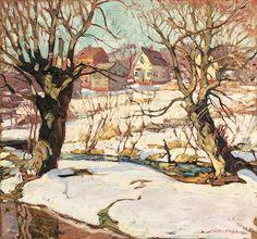 Village in Winter - McDougall Fine Arts Galleries, LLC American Impressionism, Modern Impressionism, Artist Bio, Fine Art Gallery, Galleries, Winter, Painting, Winter Time, Art Gallery