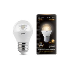 Gauss LED Globe Crystal Clear E27 4W 2700K 1/10/50 арт. 105202104