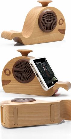 Wooden Whale Shaped Bluetooth Speaker Mobile Phone iPad Holder Stand