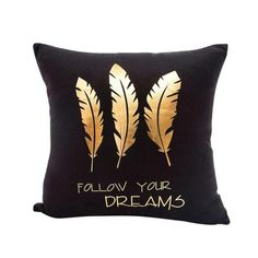 Throw Cushions, Throw Pillow Cases, Sofa Pillows, Pillow Covers, Sofa Bed, Christmas Cushion Covers, Christmas Cushions, Impression Feuille D'or, Gold Decorative Pillows