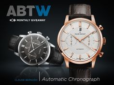 """WATCH GIVEAWAY: Claude Bernard Chronograph Automatic - enter now for your chance to win → on aBlogtoWatch.com """"This month on aBlogtoWatch, you have a chance to win a Claude Bernard Chronograph Automatic timepiece, which is an elegant and attractive bi-compax chronograph. Who wears a chronograph dress watch? The concept is a relatively modern phenomenon which developed as historic sport watches simply became dressier over time..."""""""