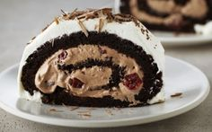 Flourless Black Forest Roulade by Anna Olson (Cherry, Chocolate) @FoodNetwork_UK