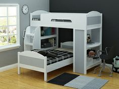 Leo Bunk Bed  features a single bunk with separate single bed. The Leo also features a desk and book shelf. The bunk can be converted to two...