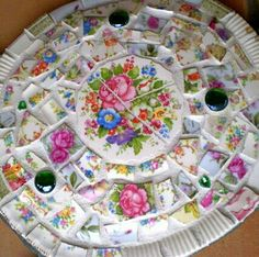 shabby chic garden stepping stone from tile diy outside decorative - Decorative Stepping Stones
