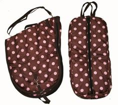 All Purpose English Horse Saddle Carrier Brown Pink Polka Dots Set by AJ. $55.00. Saddle Carrier All purpose English saddle carrying case. 420 denier poly nylon shell, 300g insulation and smooth black nylon liner. Nylon webbing carrying handle and adjustable shoulder strap, full length two way zip opening from side to side.  Bridle Bag Padded bridle/halter carrying bag. Made with high quality 420D nylon, thick 280g insulation and smooth black nylon liner. Features durable do...