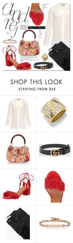 """""""Romantic High-Neck Blouses"""" by stellaasteria ❤ liked on Polyvore featuring Gucci, Marina B, Aquazzura, MANGO, Hoorsenbuhs, TrickyTrend, mango, gucci and highneckblouse"""