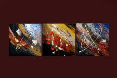 Original Abstract Painting Triptych Mixed Media by ANDYARTSTUDIO