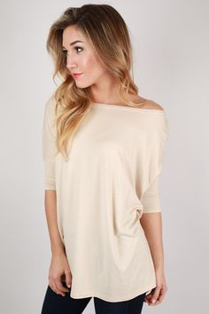 PIKO Mid Sleeve Tee in Beige   Impressions Online Women's Clothing Boutique