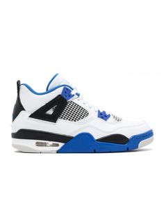 b216bb67108 Nike Air Jordan 4 Retro Bg Gs Motor Sport White Game Royal Black Outlet Nike  Air