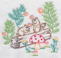Chipmunks Picking Flowers (Vintage)