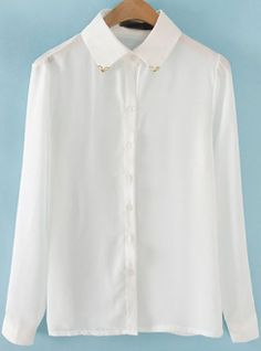 White Long Sleeve Metal Embellished Chiffon Blouse S.Kr.131.03