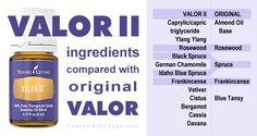 Valor II Oil compared with original Valor from Young Living Essential Oils Valor Essential Oil, Buy Essential Oils, Clary Sage Essential Oil, Essential Oil Diffuser, Essential Oil Blends, Young Living Valor Ii, Young Living Oils, Young Living Essential Oils, Terra Oils