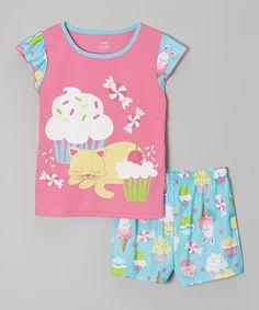 Look at this Candlesticks Pink & Aqua Dessert Kitty Pajama Set - Toddler & Girls on #zulily today!