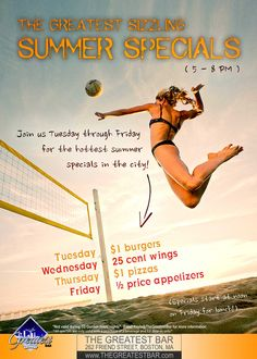 Don't miss out on our summer specials! 5-8pm Tuesday through Friday!