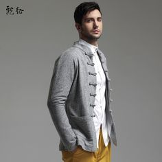 Woolen Cloth Chinese Tang Jacket for Men - Gray - Chinese Jackets - Men