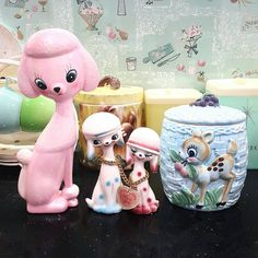 Had a pretty good few days, got super lucky with extremely reasonable local buy nows on these pretties. It's so much better when you don't pay collector prices - I just have to wait months of dry spells and search obscure words like crazy  #kitsch #kawaii #cute #cookiejar #vintage #vintagepoodle #pinkpoodle #bambi #bambicookiejar #vintagejapan #retro #cuteornament