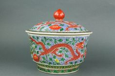 Chinese Famille Verte porcelain bowl with domed cover; of drum-form body with…