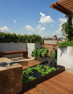 13 Awesome Images Of Rooftop Garden Design: Contemporary Roof Top Garden Design With Small Water Features Rooftop Garden Design Modern Landscape Design, Modern Garden Design, Modern Landscaping, Terrace Design, Rooftop Design, Modern Backyard, Modern Design, Garden Oasis, Terrace Garden