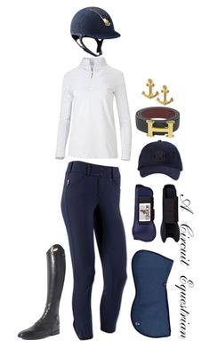 """""""navy and gold schooling"""" by a-circuit-equestrian on Polyvore featuring Parlanti, Hermès, Dogeared and WEF2016"""