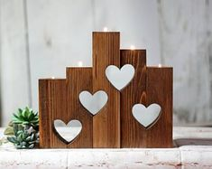 Wood Hearts Candle Holder Set of anniversary gift, anniversary gifts, wedd. Wood Hearts Candle Holder Set of anniversary gift, anniversary gifts, wedd… - Modern Wooden Candle Holders, Candle Holder Set, Wood Crafts, Diy And Crafts, Mason Jar Sconce, Rustic Candles, Rustic Wood, Creation Deco, Wood Home Decor