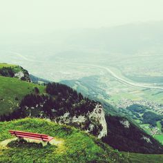 Red bench with view Red Bench, Bergen, Benches, Windows, Mountains, World, Instagram, Nature, Travel