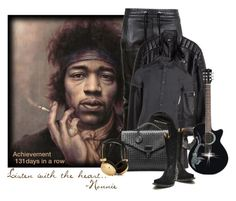"""""""131 Days of Creating: Music is Magic"""" by nonniekiss ❤ liked on Polyvore featuring Balmain, H&M, Armani Jeans, Bottega Veneta, 21 Men, Old Gringo, music, Leather, leatherjacket and menswear"""