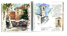 Watercolors and sketches, plus painting tips by Robin Poteet