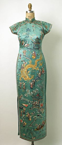 Dress (qipao/cheongsam)  1932  China    The modern qipao (or cheongsam in Cantonese) was developed in Shanghai in the mid-1920s. The modern qipao, in contrast to the original loose-fitting qipao, was much more fitted and revealing. It was popularized by wealthy socialites in Shanghai in the 1920s and it is still a popular garment for formal occasions