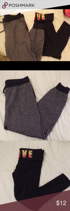 Bundle of 1 pair of leggings and joggers! Black leggings from VS Pink, size medium/large, no fading, look brand new and have love written on sequence on the back! Joggers from PacSun size large, tie at the waist so could fit medium and are synched at the ankles! 💗open to offers! 💗feel free to ask any questions! PINK Victoria's Secret Pants Leggings